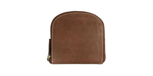 Dámská hnědá peněženka s bílým prošíváním Forbes&Lewis