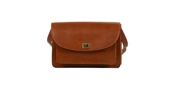 Dámská hnědá kožená taška přes rameno Forbes&Lewis