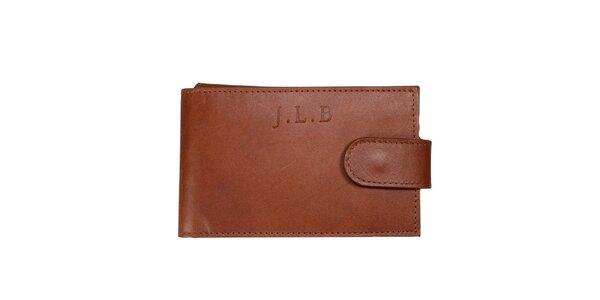 Pánská hnědá kožená peněženka Forbes&Lewis s cvočkem