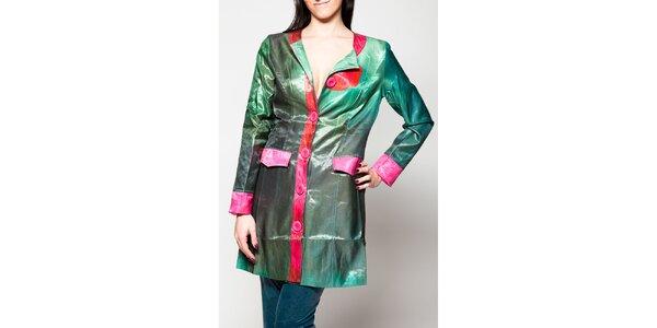Dámský zelený kabát s růžovými lemy Culito from Spain