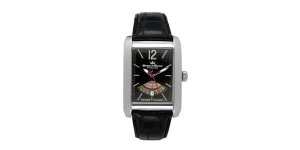 Pánské ocelové hodinky s černým koženým řemínkem Yonger & Bresson