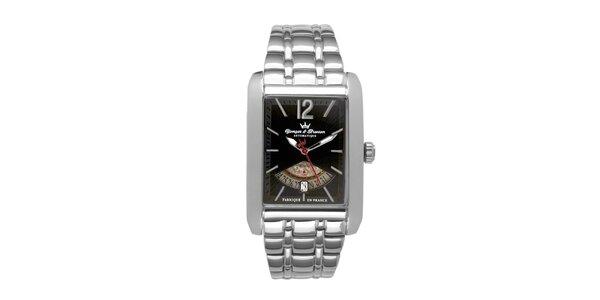 Pánské ocelové hodinky Yonger & Bresson s černým ciferníkem