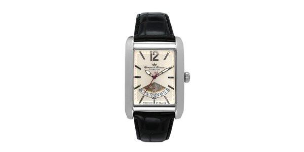 Pánské ocelové hodinky s koženým řemínkem Yonger & Bresson s béžovým ciferníkem