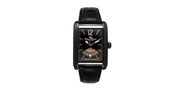 Pánské černé ocelové hodinky Yonger & Bresson