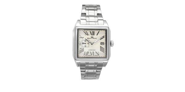 Pánské ocelové čtvercové hodinky Yonger & Bresson s béžovým ciferníkem