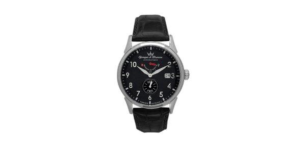Pánské černé hodinky Yonger & Bresson s koženým řemínkem