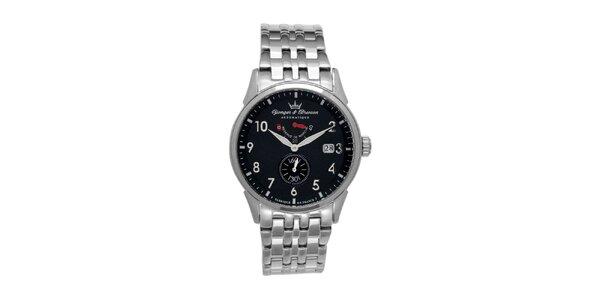 Pánské ocelové hodinky Yonger & Bresson s kulatým černým ciferníkem