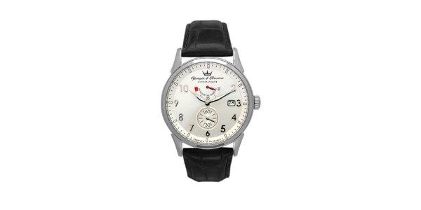 Pánské ocelové hodinky Yonger & Bresson s koženým řemínkem a kulatým ciferníkem