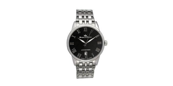 Pánské hodinky Yonger & Bresson s kulatým černým ciferníkem z oceli