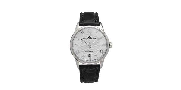 Pánské hodinky s kulatým stříbrným ciferníkem Yonger & Bresson