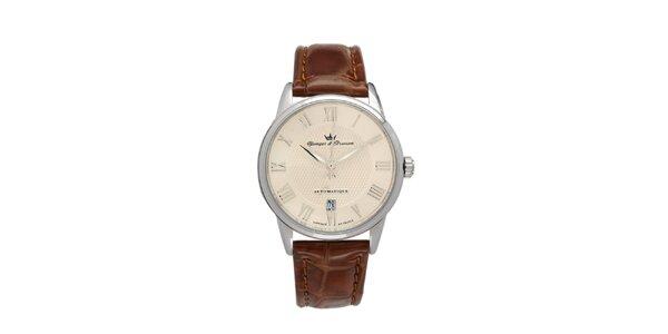 Pánské hodinky s kulatým béžovým ciferníkem Yonger & Bresson s koženým řemínkem