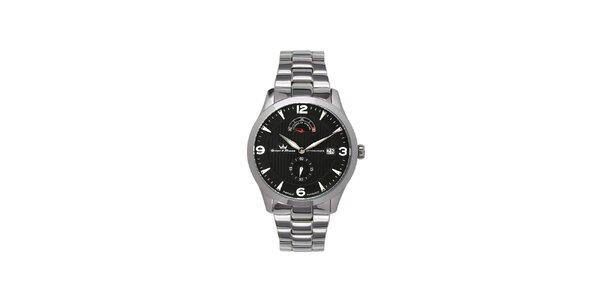Pánské multifunkční stříbrné ocelové hodinky Yonger & Bresson s černým…