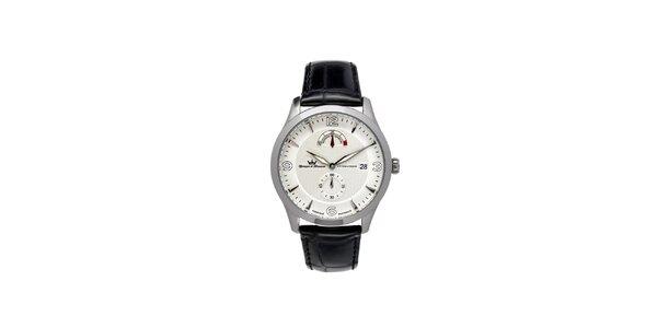 Pánské multifunkční stříbrné ocelové hodinky Yonger & Bresson s černým řemínkem