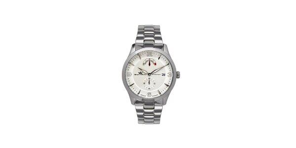 Pánské multifunkční stříbrné ocelové hodinky Yonger & Bresson s kovovým řemínkem