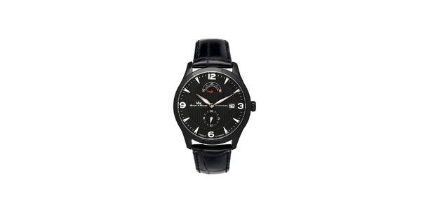 Pánské multifunkční černé ocelové hodinky Yonger & Bresson