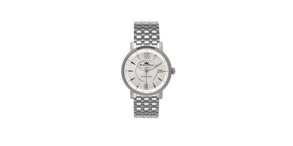 Pánské stříbrné ocelové hodinky Yonger & Bresson s kovovým řemínkem