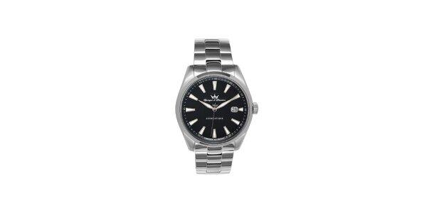 Pánské stříbrné ocelové hodinky Yonger & Bresson s černým ciferníkem