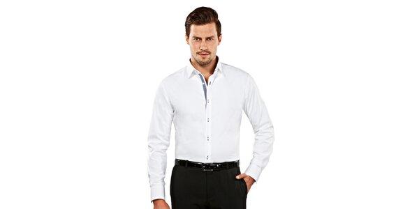 Pánská bílá slim-fit košile s kostičkovaným detailem Vincenzo Boretti