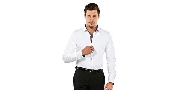 Pánská bílá slim-fit košile s kostičkovanými detaily Vincenzo Boretti