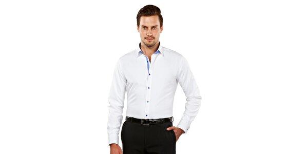 Pánská bílá slim-fit košile s modrými detaily Vincenzo Boretti
