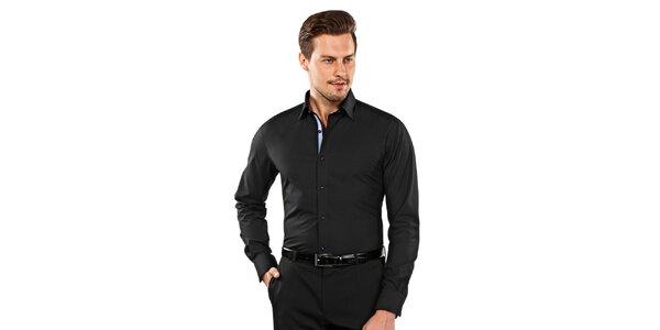 Pánská černá slim-fit košile s modrými detaily Vincenzo Boretti