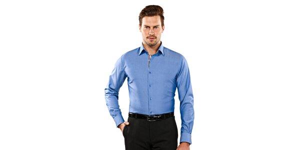 Pánská modrá slim-fit košile s hnědými detaily Vincenzo Boretti