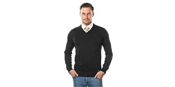 Pánský černý svetr s véčkovým výstřihem Vincenzo Boretti