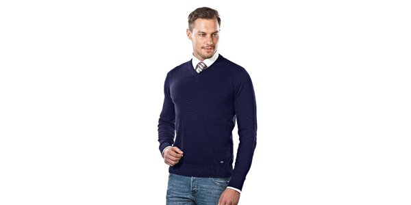 Pánský tmavě modrý svetr s véčkovým výstřihem Vincenzo Boretti