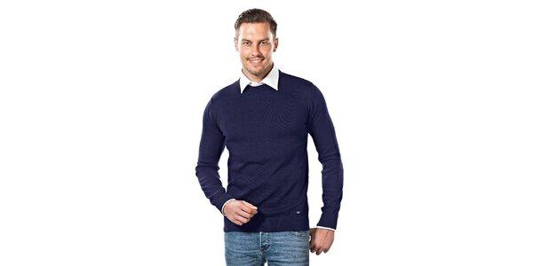 Pánský tmavě modrý svetr s kulatým výstřihem Vincenzo Boretti