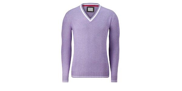 Pánský fialkový svetr Vincenzo Boretti s bílým proužkem