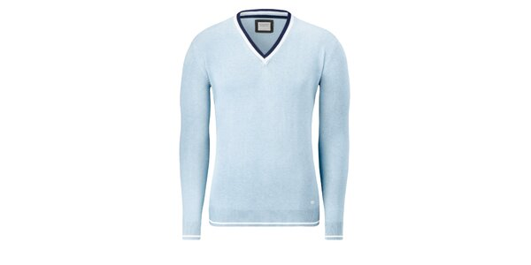 Pánský bledě modrý svetr Vincenzo Boretti s bílým proužkem
