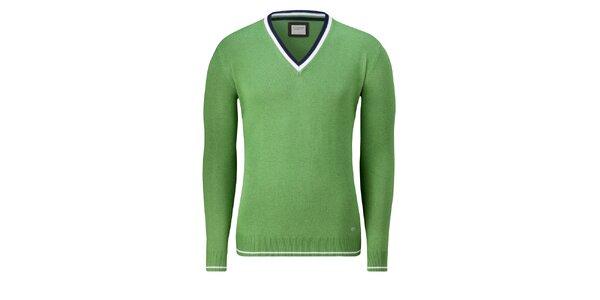 Pánský světle zelený svetr Vincenzo Boretti s bílým proužkem