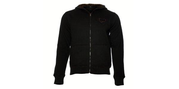 Pánská černá mikina Gas s kapucí a kožíškem