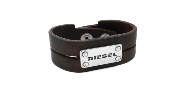 Hnědý kožený náramek Diesel