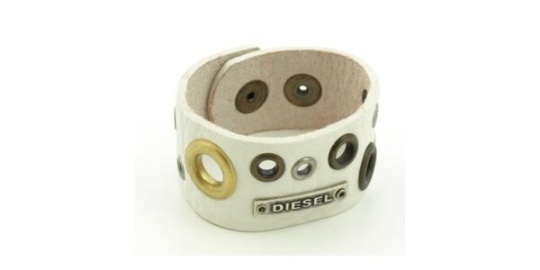 Bílý kožený náramek Diesel s kroužky