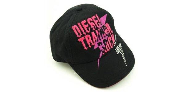 Černá kšiltovka Diesel s růžovým nápisem