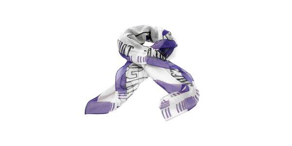 Hedvábný šátek Diesel s fialovo-černým potiskem