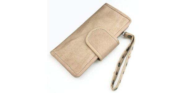 Krémová kožená peněženka Diesel s poutkem