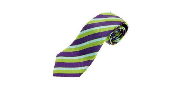 Pánská zeleno-fialová proužkovaná kravata Les Capains