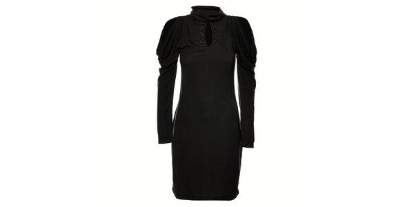 Dámské tmavě šedé úpletové šaty Gas s kamínky