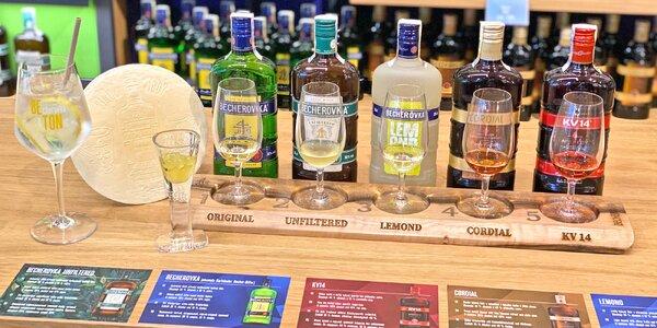 Jan Becher: degustace 5 likérů, oplatka i drink