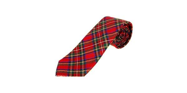 Pánská červená kravata Moschino se skotkou kostkou a modrými detaily