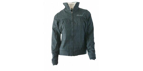 Dámská tmavě šedá kostkovaná bunda Fundango