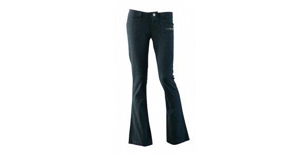 Dámské černé plátěné kalhoty Fundango se zvony a potiskem