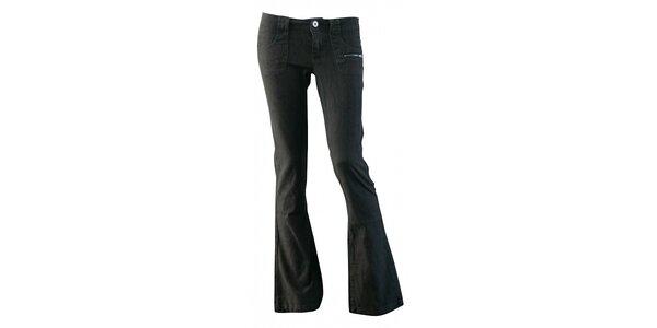 Dámské tmavě hnědé plátěné kalhoty Fundango se zvony a potiskem