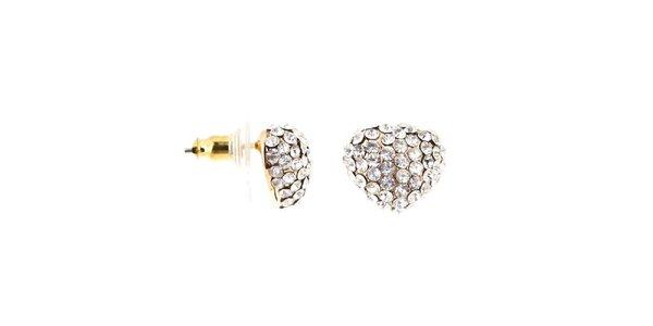 Dámské zlatě tónované náušnice s krystalky Majique