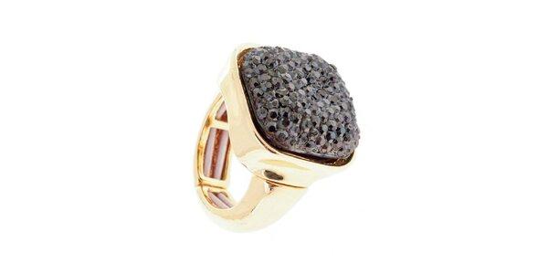 Dámský prsten s tmavě šedým krystalem Majique