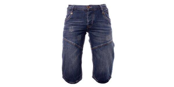 Pánské modré džínové kraťasy Exe