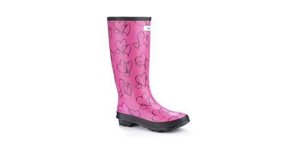 Dámské růžové srdíčkové holinky Splash by Wedge Welly Wide