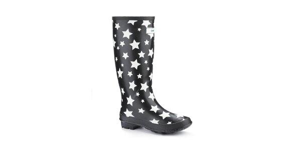Dámské černé holínky Splash by Wedge Welly s hvězdičkami